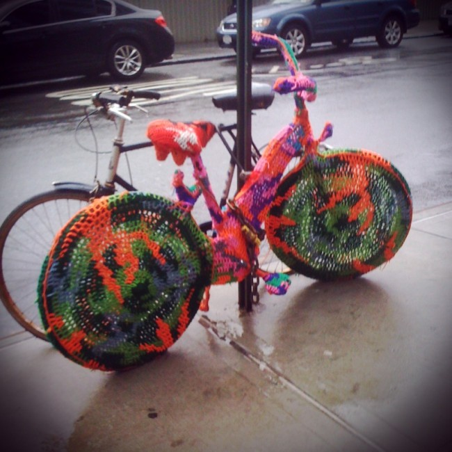 knitted bike in dumbo