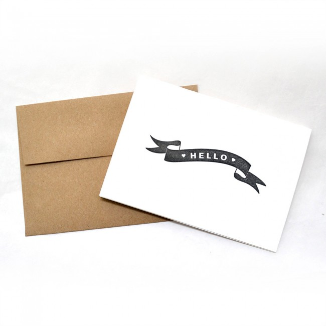 Letterpress Hello Note Cards