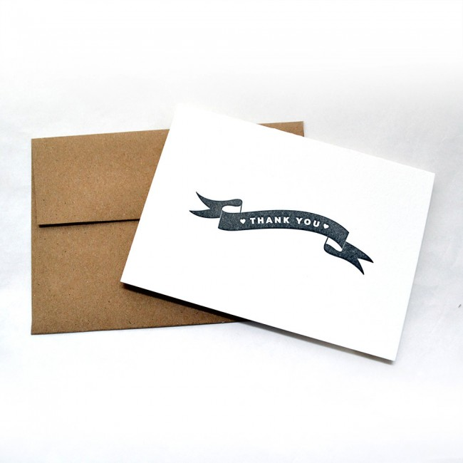 Letterpress Thank You Note Cards
