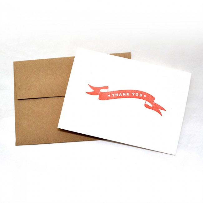 Letterpress Thank You Note Cards Red