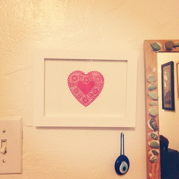 One of our lace heart prints at my friend's wall :)